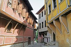 узкая улица plovdiv Стоковое фото RF