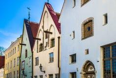 Узкая улица в старом городке Таллина Стоковая Фотография RF