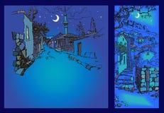 Узкая улица старого восточного городка на ноче Стоковое фото RF