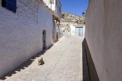 Узкая улица с белизной покрасила дома, типичные этого городка, t Стоковое фото RF