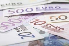 узкая часть фокуса евро крупного плана кредиток Стоковые Изображения