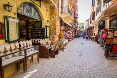 Узкие улицы с сувенирами Стоковое фото RF