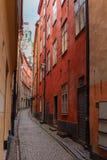 Узкие улицы старого городка Стокгольма Стоковые Фото