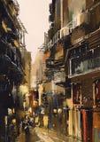 Узкий переулок с старыми зданиями Стоковое Изображение