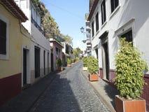 Узким улица вымощенная булыжником в Фуншале стоковое фото