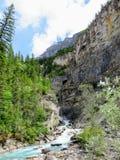 Узкое быстроподвижное река бежать вниз через крутой максимум долины в стоковое изображение