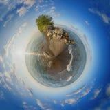 Укажите пляж национального парка Pelee на заход солнца, spheric взгляд 360 Стоковые Изображения RF
