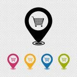 Указатель карты, искатель положения, значок покупок - иллюстрация вектора изолированная на прозрачной предпосылке иллюстрация вектора