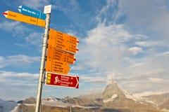указатель Швейцария matterhorn Стоковое Изображение