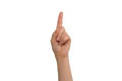 Указательный палец молодой дамы левый Стоковые Изображения RF