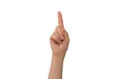 Указательный палец молодой дамы правый Стоковое Изображение