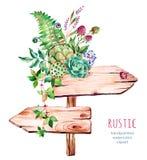 Указатель акварели деревянный Украшено с цветками иллюстрация вектора