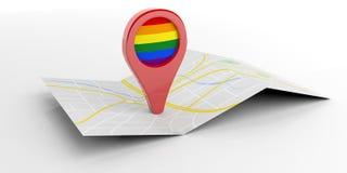 Указатель карты флага радуги на белой предпосылке иллюстрация 3d Стоковое Фото