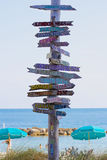 Указатель на Key West указывая к местам по всему миру Стоковая Фотография RF