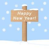 Указатель счастливого Нового Года деревянный иллюстрация вектора