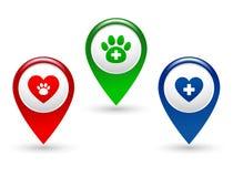 Указатель с лапкой, сердцем и ветеринарным крестом бесплатная иллюстрация