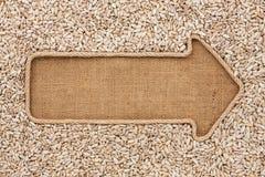 Указатель сделанный от веревочки при семена подсолнуха лежа на дерюге Стоковая Фотография RF