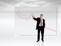 указывать диаграммы бизнесмена Стоковая Фотография