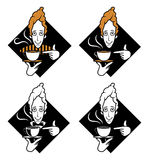 указывать кружки человека кофе бесплатная иллюстрация