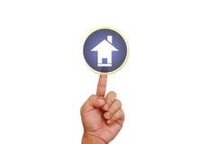 указывать руки кнопки домашний Стоковые Изображения RF