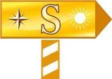 указывающ знак на юг Стоковое Изображение RF