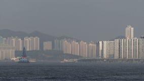 Укладка в форме снятая гавани Гонконга видеоматериал