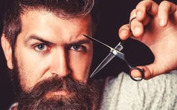Укомплектовывает личным составом стрижку в парикмахерской Ножницы парикмахера, парикмахерская Зверский мужчина, хипстер с усиком  стоковые изображения rf