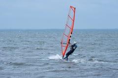 Укомплектуйте личным составом ветер занимаясь серфингом в океане вне шведского восточного побережья Стоковое Изображение RF