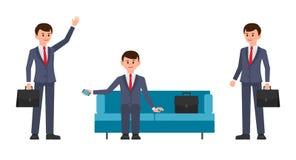 Укомплектуйте личным составом, в синем костюме сидя на софе, держа smartphone Человек, с рукой портфеля развевая и усмехаться иллюстрация штока
