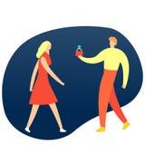 Укомплектуйте личным составом держать обручальное кольцо и делать предложение к его подруге романтичный сярприз Изолированная илл иллюстрация вектора