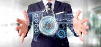 Укомплектуйте личным составом держать перевод интерфейса 3d технологии безопасности padlock иллюстрация вектора