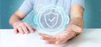 Укомплектуйте личным составом держать перевод интерфейса 3d технологии безопасности padlock иллюстрация штока