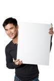 Укомплектуйте личным составом знак белизны удерживания Стоковое фото RF