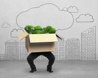 Укомплектуйте личным составом коробку с лампочками зеленой травы, зеленую концепцию владением энергии Стоковое Изображение RF