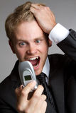 укомплектуйте личным составом кричать телефона Стоковые Фотографии RF