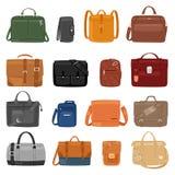 Укомплектуйте личным составом портфель сумки или дела моды людей вектора сумки и кожаное notecase положенного в мешки manlike илл Стоковые Изображения