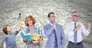 Укомплектуйте личным составом расти вверх на различных этапах времени жизни с деньгами Стоковая Фотография