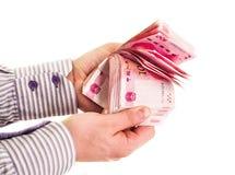 Укомплектуйте личным составом руки подсчитывая китайца изолированного на белой предпосылке Стоковое Изображение RF