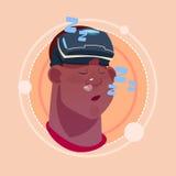 Укомплектуйте личным составом спать Афро-американское мужское Emoji нося виртуальную концепцию выражения лица воплощения значка э Стоковые Изображения RF