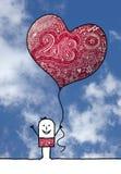 Укомплектуйте личным составом с большим воздушным шаром сердца 2018 Стоковые Фотографии RF
