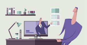 Укомплектуйте личным составом указывать на дату календаря от монитора компьютера к другому человеку в интерьере офиса Онлайн сове иллюстрация вектора