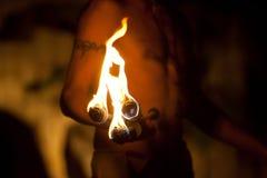 укомплектуйте личным составом факел ночи Стоковое Изображение