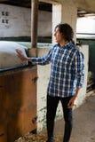 Укомплектуйте личным составом ласкать белую лошадь в ранчо стоковые изображения rf