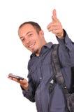 Укомплектуйте личным составом большие пальцы руки вверх, оно большой успех стоковые фотографии rf