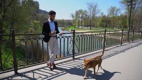 Укомплектуйте личным составом бумаги дела чтения и бега собаки в замедленном движении на мосте сток-видео