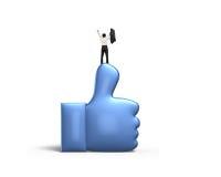 Укомплектуйте личным составом веселить и стоять на голубом большом пальце руки вверх Стоковые Фото