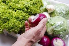 Укомплектуйте личным составом выбирать лук от коробки свежих овощей Стоковая Фотография