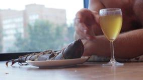 Укомплектуйте личным составом выпивая пиво от стекла и съешьте рыб, лежа на поле сток-видео