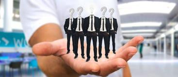 Укомплектуйте личным составом держать группу в составе бизнесмены в его руке с применением ic Стоковое Фото