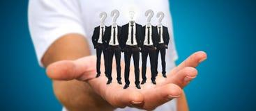 Укомплектуйте личным составом держать группу в составе бизнесмены в его руке с применением ic Стоковое Изображение